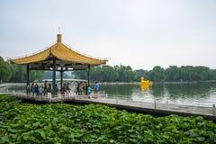 Asien Kina, Peking, Taoranting parkerar den ,Double paviljongen royaltyfri foto
