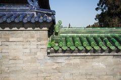 Asien Kina, Peking-, Tiantan Parkï ¼ŒGlazed tegelplatta och tegelstenvägg Arkivfoto