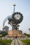 Asien Kina, Tianjin, landskapsarkitektur, århundradeKlocka fyrkant Royaltyfri Bild