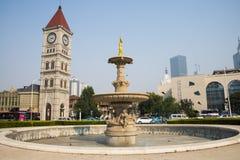 Asien Kina, Tianjin, musik parkerar, ängelskulptur Royaltyfri Foto