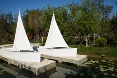 Asien Kina, Wuqing Tianjin, den gröna expon, det trädgårds- landskapet, vit seglar Royaltyfria Bilder
