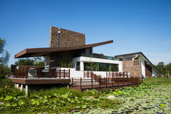 Asien Kina, Wuqing, Tianjin, grön expo, landskaparchitectureï¼ Œrestaurant Royaltyfria Foton