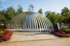 Asien Kina, Wuqing Tianjin, grön expo, landskapsarkitektur, halv cirkel, paviljong Fotografering för Bildbyråer