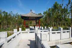 Asien Kina, Wuqing, Tianjin, grön expo, landskapsarkitektur, paviljongen, stenbro Royaltyfria Foton