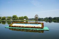 Asien kines, Peking, Jianhe Parkï ¼ ŒLakeview, väderkvarn Arkivfoto