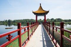 Asien kines, Peking, Jianhe parkerar, den röda paviljongen Arkivbild