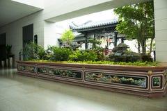 Asien kines, Peking, Kina trädgårds- museum, inomhus mässhall Arkivfoto