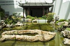 Asien kines, Peking, Kina trädgårds- museum, inomhus mässhall Royaltyfri Fotografi