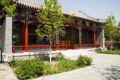 Asien kines, Peking, Kina trädgårds- museum, utomhus- trädgård, antik byggnad royaltyfri foto