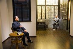 Asien kines, Peking, nationellt museum, den moderna kulturen av kändisvaxet, Cao Yu, Lao She Arkivfoton
