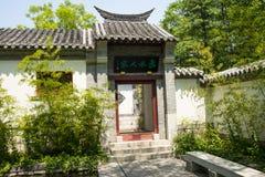 Asien kines, Peking, trädgårds- expo, antik byggnad, porthus, royaltyfria bilder