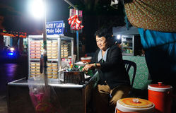 Asien-Kuchenpflasterungsshop, Karamellpudding Stockfotos