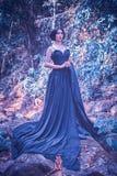 Asien kvinna i svart långt klänninganseende på skog Royaltyfria Foton