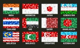 Asien lågt poly flaggor Arkivbild