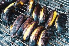 Asien mat grillade bananer Royaltyfria Foton