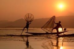 ASIEN MYANMAR INLE SJÖ Arkivfoto
