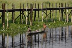 ASIEN MYANMAR NYAUNGSHWE SOM SVÄVAR TRÄDGÅRDAR arkivfoto