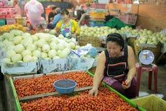 ASIEN THAILAND CHIANG MAI MARKNAD Arkivfoto