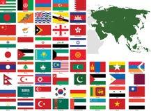 Asien-vektormarkierungsfahnen und -karten Lizenzfreies Stockfoto