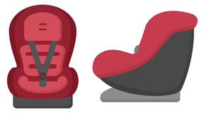 Asiento de carro negro y rojo del bebé Front And Side Views Isolated en un fondo blanco Ilustración del vector Foto de archivo libre de regalías