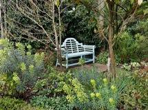 Asiento de jardín de madera en primavera Fotos de archivo libres de regalías