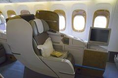 Asiento de la clase de negocios en el aeroplano Fotos de archivo libres de regalías