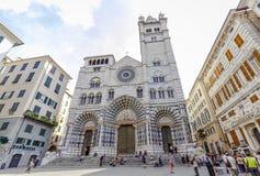 Asiento de San Lorenzo de los di de Cattedrale del arzobispo de Génova Imagen de archivo libre de regalías