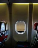 Asiento del aeroplano dentro del avión de la cabina Imagen de archivo libre de regalías