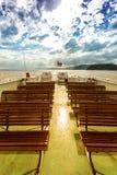 Asiento libre en la cubierta del transbordador en Noruega Imagen de archivo libre de regalías