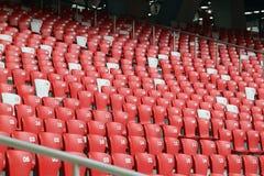 Asiento rojo en el estadio Fotografía de archivo