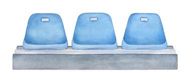Asientos azules en el estadio o la arena de las puertas abiertas ilustración del vector
