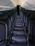 Asientos de línea aérea azules Imágenes de archivo libres de regalías