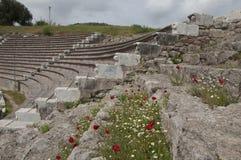 Asientos del auditorio del anfiteatro en el Asklepion, Pérgamo Imágenes de archivo libres de regalías