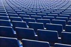 Asientos del azul del estadio Fotografía de archivo