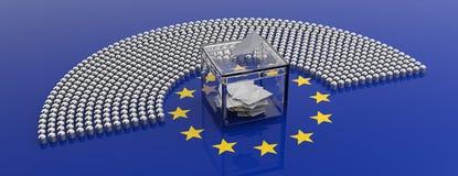 Asientos del parlamento de la unión europea y una caja de votación en fondo de la bandera de la UE ilustración 3D stock de ilustración