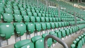 Asientos plásticos verdes del estadio en Wroclaw Fotos de archivo libres de regalías