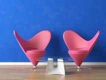 Asientos rosados en la pared azul libre illustration