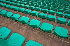 Asientos verdes del estadio Foto de archivo libre de regalías