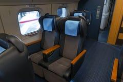 Asientos verdes del tren de la bala de la serie E6 (de alta velocidad, Shinkansen) fotografía de archivo libre de regalías
