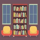 Asientos y estante para libros planos de la lectura del diseño libre illustration