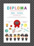 Asilo dei certificati ed elementare, modello di progettazione del fondo del certificato del diploma dei bambini della scuola mate Fotografia Stock