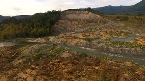 Asilo Oso Washington Mudslide Site Stillaguamish River de la trucha arco iris almacen de video