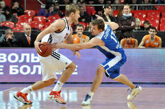 Asily Zavoruev takes the ball from an opponent Stock Photos