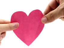 Asimiento de dos manos un corazón rosado Fotos de archivo
