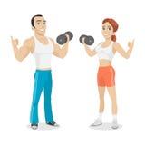 Asimiento del individuo y de la muchacha en mano de la pesa de gimnasia Imagenes de archivo