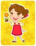Asimiento respetuoso del medio ambiente de la muchacha una flor Foto de archivo