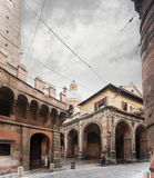 Asinelli tower street Royalty Free Stock Photos