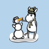 Asino di divertimento con il pupazzo di neve Fotografie Stock