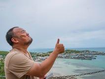 Free Asisn Fat Traveler Stand On Top Of Khao Ma Jor Pier Stock Photos - 130056973