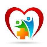 Asistencia m?dica en muestra del elemento del icono del logotipo del concepto de la salud de la familia del globo del coraz?n en  ilustración del vector